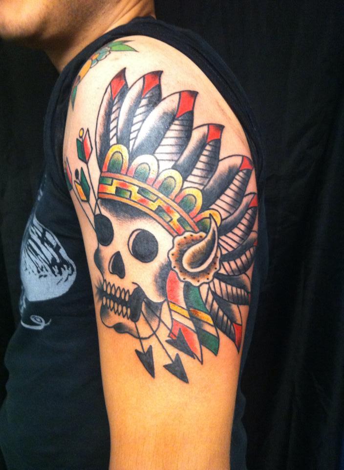 Adam-skull-indian-headress-tattoo
