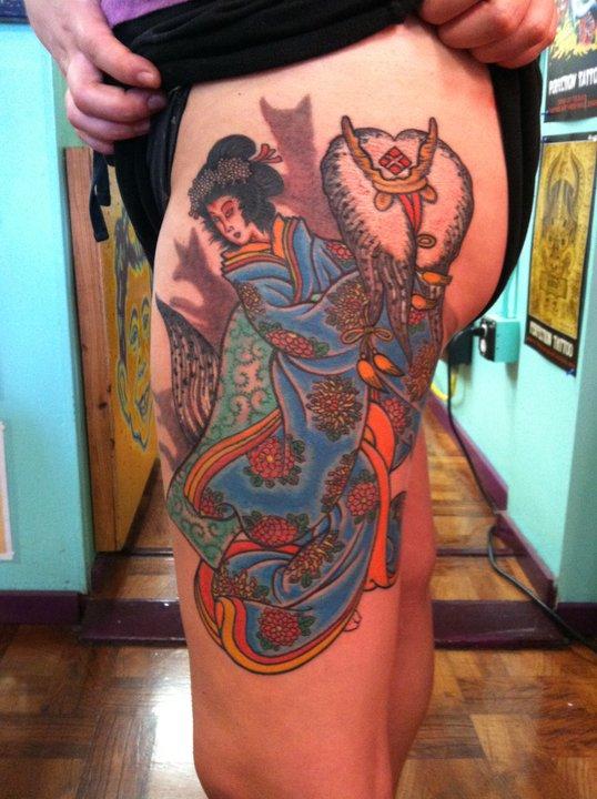 Ancient-Ink-Luar-Japanese-geisha-leg-tattoo