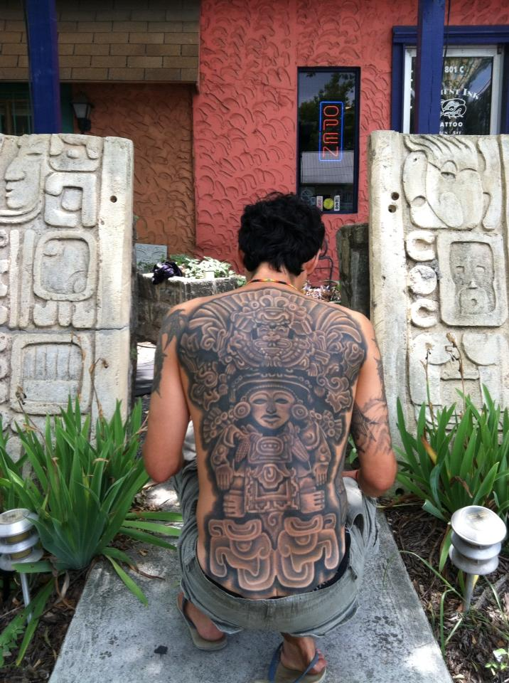 Ancient-Ink-Luar-Mayan-full-back-bw-tattoo-